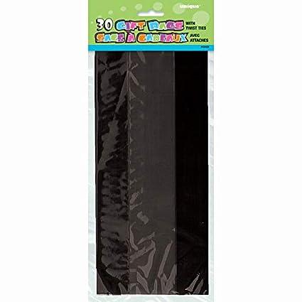 Unique Party- Paquete de 30 bolsas de regalo de celofán, Color negro, 12 (62522)