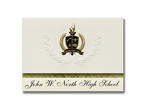 Signature Announcements John W. North High School (Riverside, CA) Graduation Announcements, Presidential style, Basic package of 25 with Gold & Black Metallic Foil - North Riverside