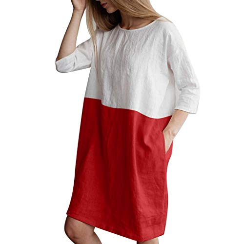 NEEKEY Women Casual Patchwork 1/2 Sleeved Cotton Linen Oversize Loose Pockets Neutral Knee-Length Dress Tops Red ()