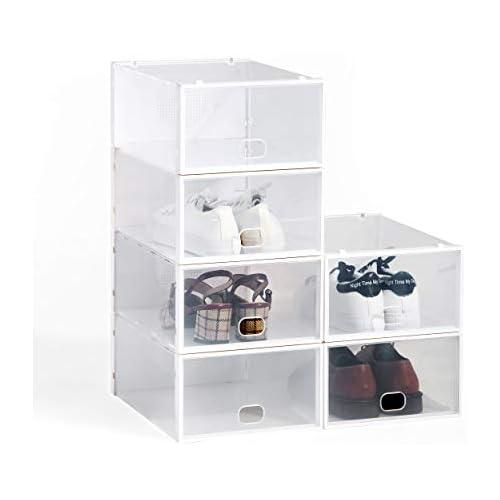 chollos oferta descuentos barato Hododou Caja de zapatos apilable 6 unidades 34 x 23 x 13 cm color transparente