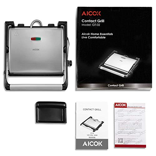 Panini Press Gourmet Sandwich Maker, 4-Slice Extra Large Panini Press Grill with Non-Stick Coated Plates and Removable Drip Tray, Stainless Steel, 1200W by AICOK (Image #6)
