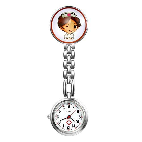 Women's Nurse Watch, Cute Cartoon Clip Lapel Fob Hanging Medical Doctor Stethoscope Quartz Fob Watch with Metal - Lapel Chain Watch
