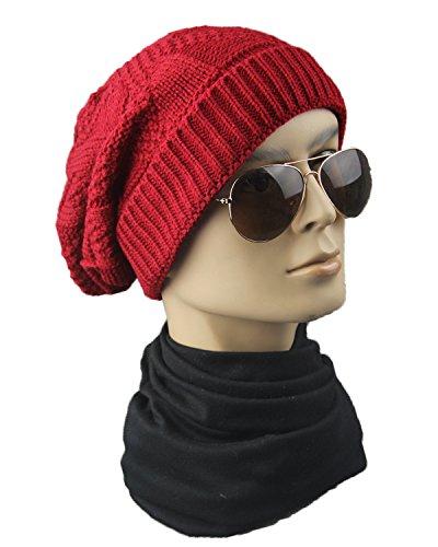 Rojo de lateral Sombreros de montón Sombreros tejida unisex hop de Sombreros de elásticos gorrita hip lana opuesta punto pTCxqHw