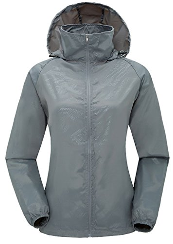 ZSHOW Women's Super Lightweight Jacket Quick Dry Windbreaker UV Protect Coat(Grey,XS)