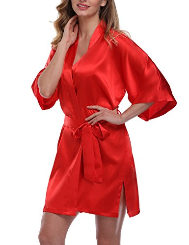 (Women's Short Kimono Robe Pure Color Silky Bathrobe Bridal Party Dressing Gown, Red, XL)