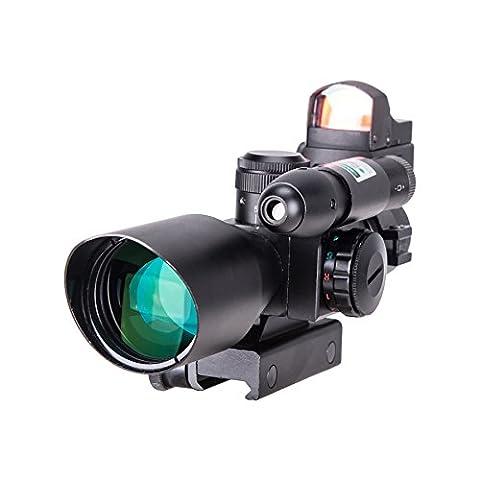 Pinty 3 in 1 Scope Combo 2.5-10x40 Illuminated Mil Dot Rifle Scope + 3 MOA Micro Red Dot Reflex Sight + Green Dot Laser (3 8 Scope Mount Adapter)