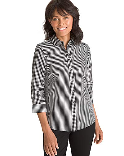 (Chico's Women's No-Iron Cotton Stain Shield Striped-Gingham Shirt Size 4 S (0) Black/White )