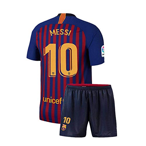 yqueyh Mens Barcelona #10 Messi 2018/19 Home Soccer Jersey & Shorts Sizes Blue (Blue, Medium) ()