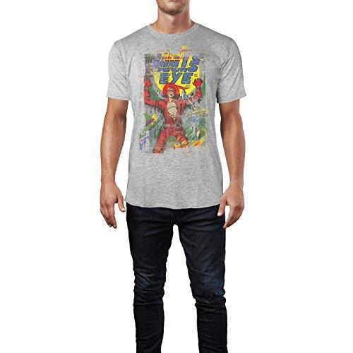 SINUS ART® Bulls Eye Herren T-Shirts stilvolles hellgraues Cooles Fun Shirt mit tollen Aufdruck