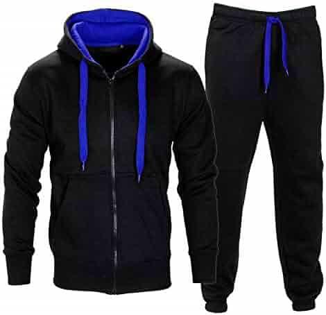 d8608c3e9d Men Tracksuit Set Fleece Hoodie Bottom Jogger Kids Contrast Cord Gym Active  wear