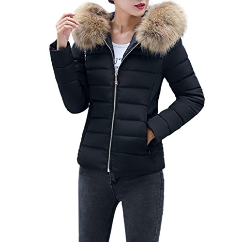 (LUNIWEI Winter Women Fashion Casual Thicker Slim Down Jacket Coat Overcoat (L, Black))