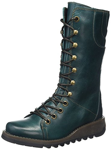 Ster768Fly Petrol Leather Womens Mid Calf Boots-38