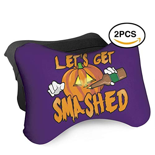 DAFAQUAN Let's Get Smashed Halloween Pumpkin Drinking Beer 2 PCS Car Neck Pillow for Head Support