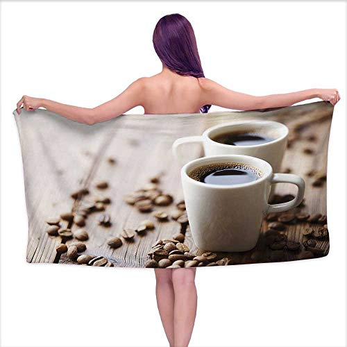 Atelier Espresso Cup - Andasrew Bath Towels Prime Coffee,Espresso in Cups on Wooden Table with Beans Hot Drink for Romantic Couples,Cocoa Brown White,W10 xL39 for Youth Girls Cotton