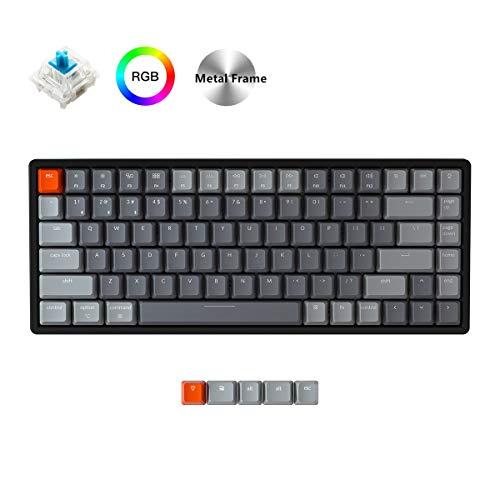 Keychron K2 Wireless Bluetooth/USB Wired Gaming Mechanical Keyboard, Compact 84 Keys Tenkeyless RGB LED Backlit Aluminum…