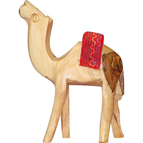 Bethlehem Olive Wood Camel Figurine Statue from Jerusalem by Bethlehem Gifts TM (Red Saddle, 6 inches)