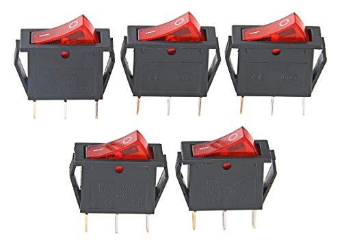 15A 250V/20A 125V 3 Pin AC Rocker Switch KCD3 Switch 5 Pcs