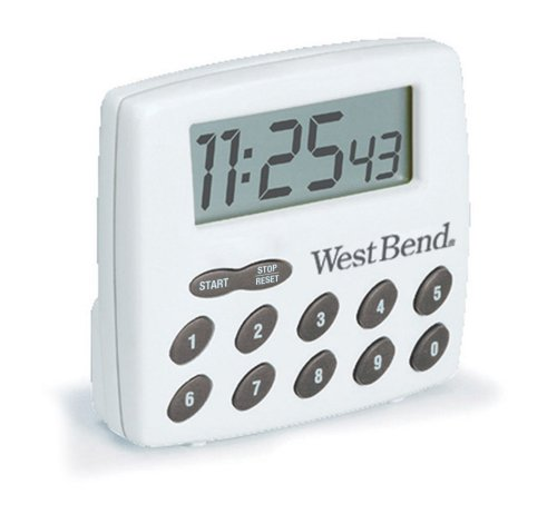 West Bend 40005X Easy to Read Digital Magnetic Kitchen Timer Features Large Display and Electronic Alarm, White ()