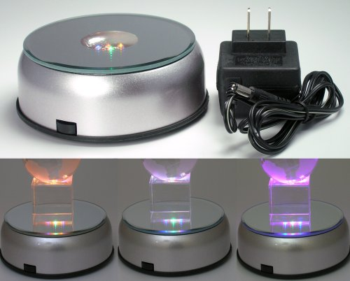 (Display Base LED Lighted Silver Mirrored Top 7 Cycling Colored Lights)