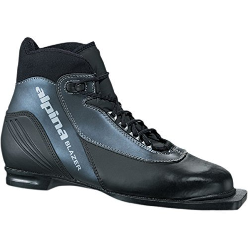 Alpina Classic Boots - Alpina Blazer Cross-Country Nordic Ski Boots with 3-Pin Soles, Black/Anthracite , 49
