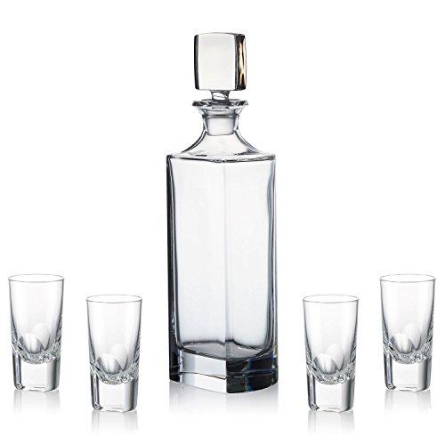 Rogaska Manhattan Vodka Decanter Set with 4 Shot Glasses by Rogaska