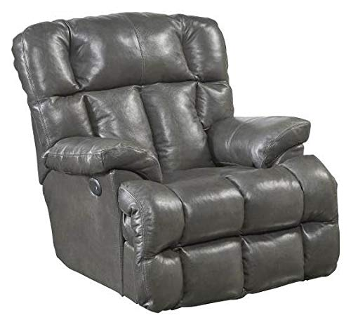 Catnapper Victor Leather Power Lay Flat Chaise Recliner in Steel by Catnapper