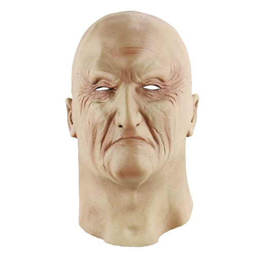 Old Male Disguise Halloween Dress Bruiser Bouncer mask(Bald The Elderly )]()
