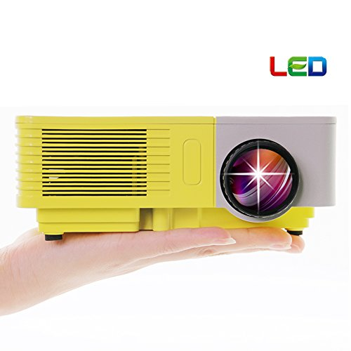 EUG 500D+ Mini Portable LCD LED Home Cinema Theater Projector HD Support 1080p With USB SD HDMI VGA AV TV Port for Home Theater Entertainment Video Games Iphone Ipad Laptop Use