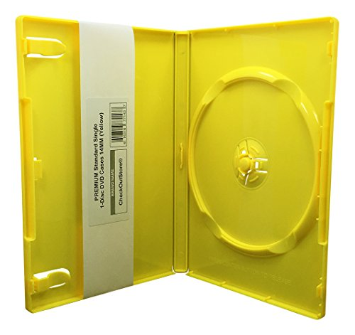 100 Yellow Small Case - CheckOutStore (100 Premium Standard Single 1-Disc DVD Cases 14mm (Yellow)