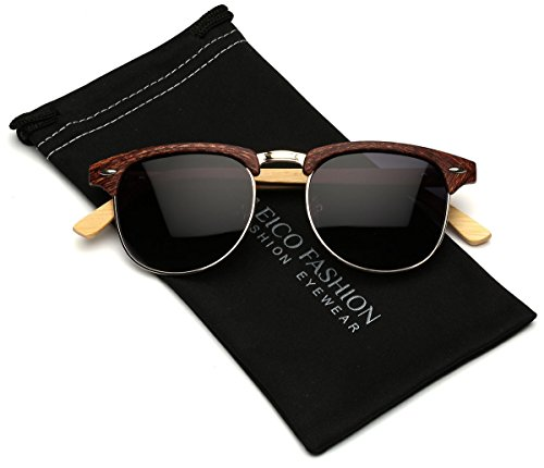 Polarized Classic Semi Rimless Sunglasses with Bamboo Wood Temples (49mm - Made Wood Sunglasses Of Out