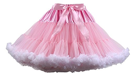 FOLOBE Adult Luxurious Soft Chiffon Petticoat Tulle Tutu Skirt Women's Tutu Costume Petticoat Ballet Dance Multi-Layer Puffy Skirt Pinkwhite