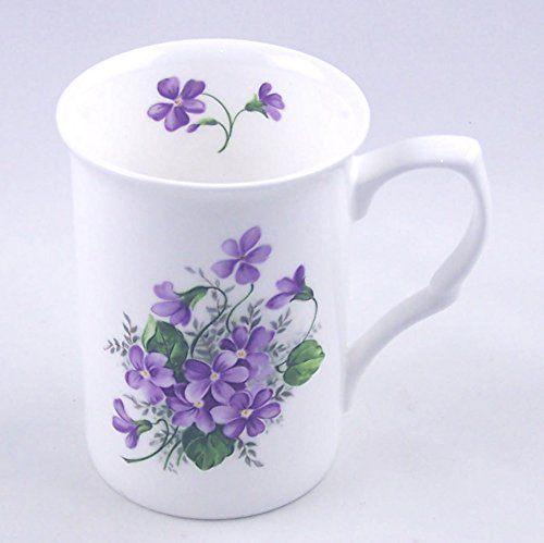 Fine English Bone China Mug - Wild Violet Spray - Adderley, England