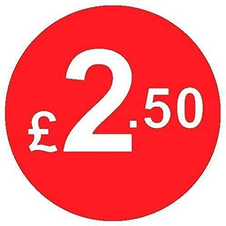 Red /£8 Pack of 200 Red 20mm Price Stickers//Sticky Labels From 99p to /£10