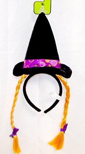 (Witch Headband Orange Wired Silky Hairbraid Purple Bow Costume Dress-up)