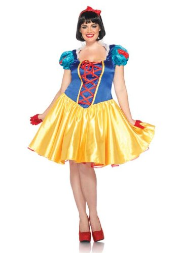 Snow Plus White Costume (Leg Avenue Disney Plus-Size 2Pc. Classic Snow White Costume Dress and Bow Head Piece, Blue/Yellow/White,)