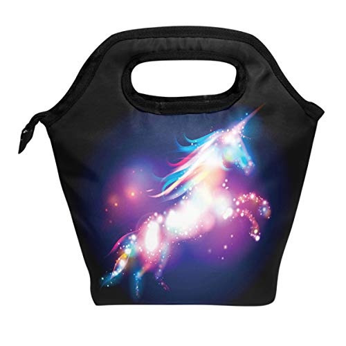 ALAZA Lunch Tote Bag Unicorn Magic Design With Stars Insulated Cooler Thermal Reusable Bag, Space Galaxy Star Unicorn Lunch Box Portable Handbag for Men Women Kids Boys Girls