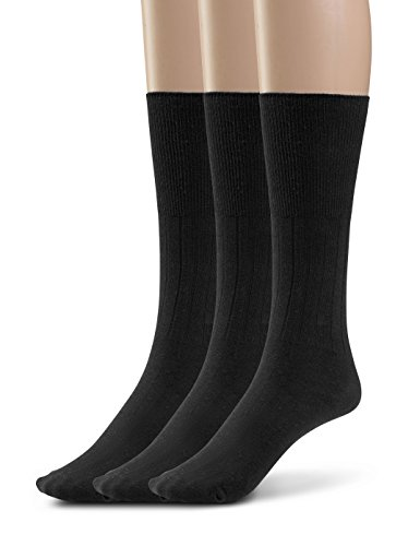 Toe Seamless Socks (Silky Toes Women's Diabetic 3Pk Premium Soft Non-Binding Cotton Dress Socks (9-11, Black -3 Pairs))