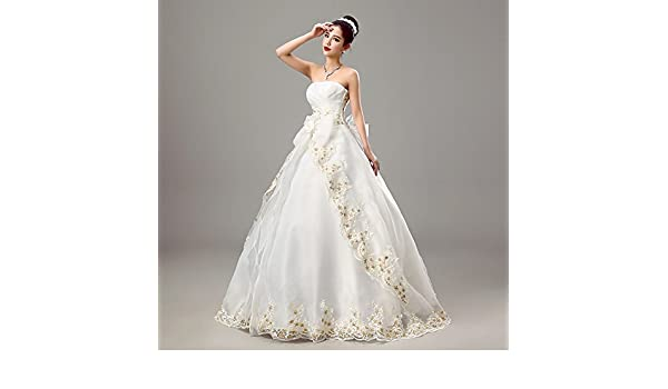 kekafu Vestido bustier Longitud Piso Organza vestido de novia con con cruce de bordado, Blanco nupcial,M: Amazon.es: Deportes y aire libre