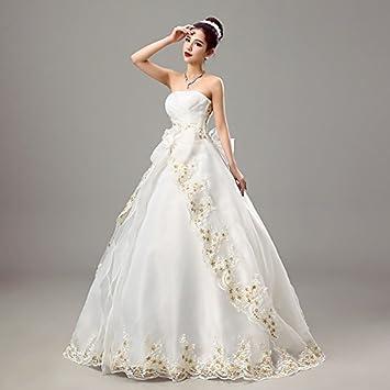 kekafu Vestido bustier Longitud Piso Organza vestido de novia con bordados con cruce por,nupcial
