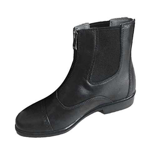 Black Horse Boots Front amp; Boots Jodhpur MagiDeal Men Zip Paddock Riding Leather TxqHUvY