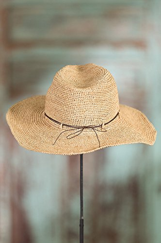 Continental Turquoise Raffia Floppy Hat