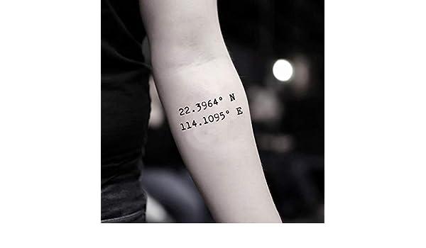 Tatuaje Temporal de Coordenadas personalizadas (2 Piezas) - www ...