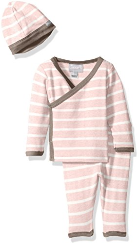 Pink Contrast Rib Knit Cotton Take Me Home, Heather Pink/Cream Stripes, Newborn ()