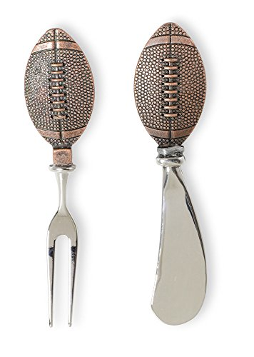 Celebrate the Home NOO17034 Copper Cheese Fork & Spreader Set, Football