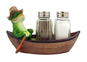 Croak Creek Canoe Resin Frog in Canoe Figurine with Glass Salt and Pepper Shaker Set Holder, 7 Inch