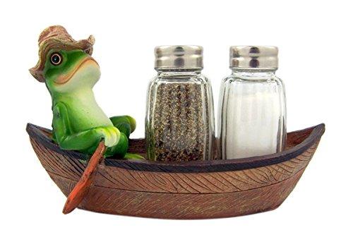 - Croak Creek Canoe Resin Frog in Canoe Figurine with Glass Salt and Pepper Shaker Set Holder, 7 Inch