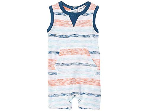 Splendid Baby Boys One-Piece Bodysuit -Pouch pocket striped onesie, Fresh Ink, 6/9