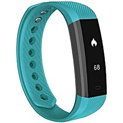 Fitness Tracker,007plus D115 Bluetooth 4.0 Pedometer Sleep Monitor Concise Style Point Touch Activity Tracker (Teal)