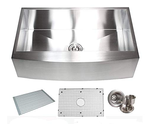 (36 Inch Zero Radius Design 16 Gauge Single Bowl Stainless Steel Curve Farmhouse Apron Kitchen Sink Premium Package (36 INCH) KKR-EFS3621)
