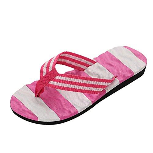 Sandalen Damen Jamicy® Frauen Sommer Bowknot Sandalen Slipper Indoor Outdoor Flip-Flops Strand Schuhe (EU 36, Lila)